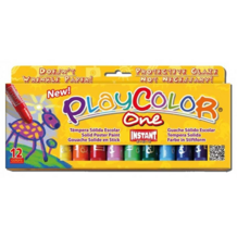 Playcolor One assortiment de 12 sticks larges de gouache solide