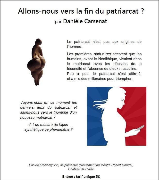 Allons-nous vers la fin du patriarcat ? conférence par Danièle CARSENAT