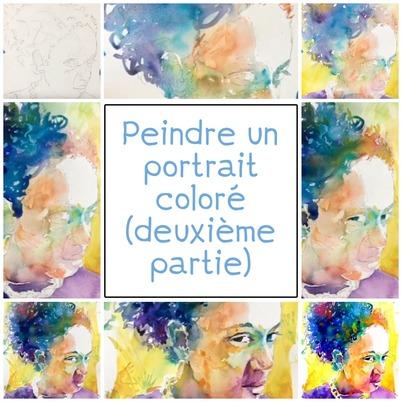 Dessin et peinture - vidéo 3326 : Comment peindre un visage particulièrement coloré 2/2 - aquarelle.