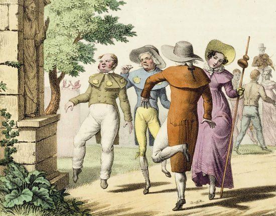 Danse de Saint-Guy ou de Saint-Vit. Lithographie extraite de l'Album comique de pathologie pittoresque. Recueil de vingt caricatures médicales (1823)