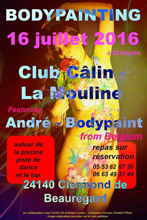 Bodypainting le 16 juimmet 2016 au Club Câlin  en Dordogne !