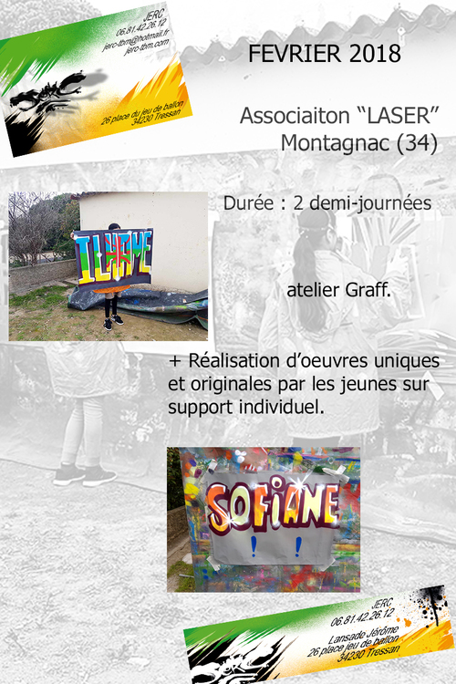 """atelier initiation graff realisation d'affichettes par groupe de 9 jeunes de l'association """"LASER"""" Montagnac (34). Février 2018. toutes les photos ici http://www.jerc-tbm.com/crbst_5.html"""