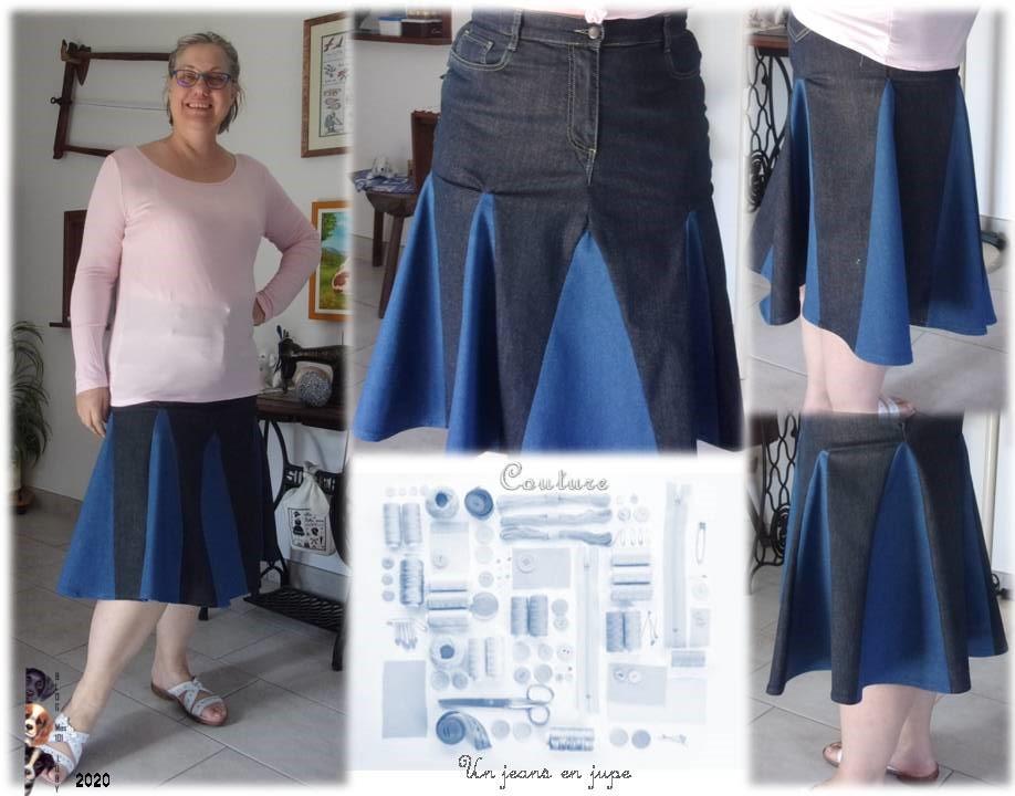 Un jeans transformé en jupe fini