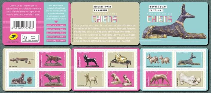 2018 - Carnet autoadhésif 12 timbres art/sculpture chien
