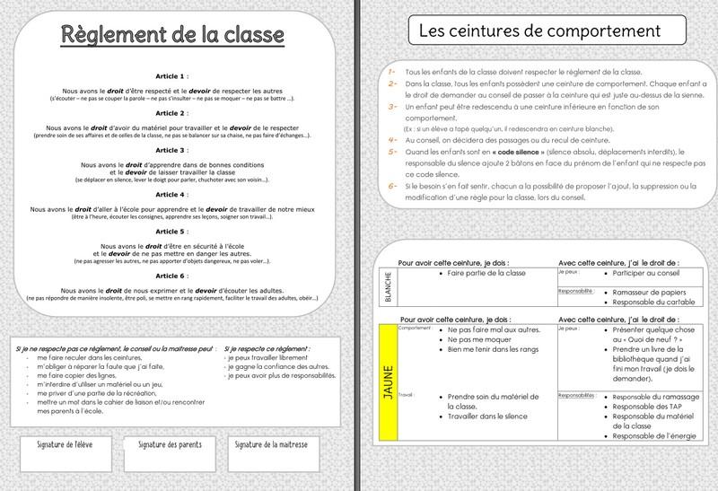 Réglement de la classe, ceintures et responsabilités