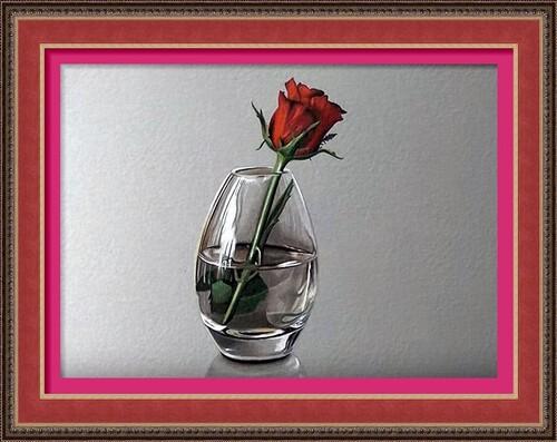 Dessin et peinture - vidéo 2292 : Comment dessiner ou peindre une rose rouge dans un vase transparent (soliflore)?