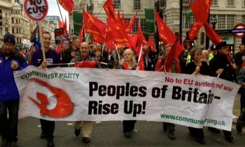 """Brexit-Pour le PC de Grande-Bretagne (Communiste Party of Britain CPB):""""Une victoire pour la souveraineté populaire, une défaite pour l'axe UE/FMI/OTAN"""" (communiqué du CPB du 24/06/206)"""
