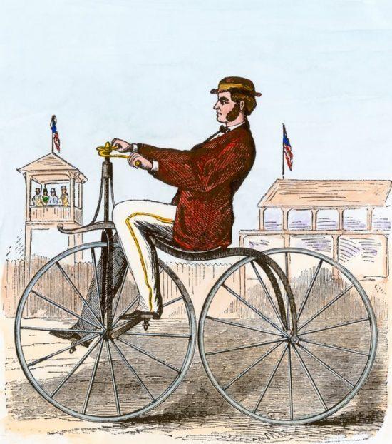 Un vélocipède de 1868. Gravure (colorisée) du temps