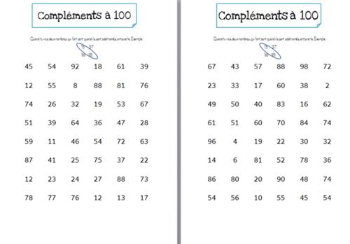 Compléments à 100 CE1-CE2