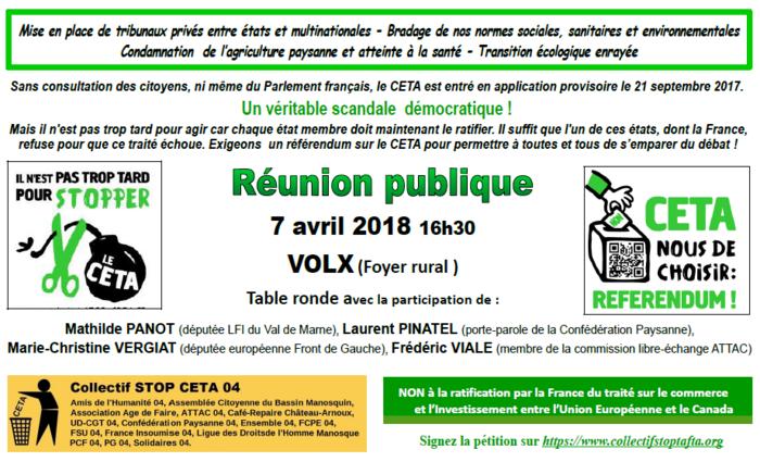 *Stop CETA : réunion publique le 7 avril, 16h30, à Volx par la Conf' 04