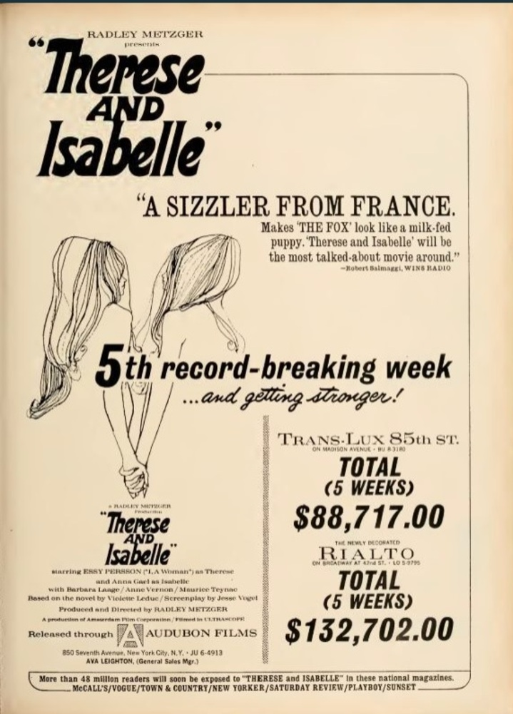 THERESE AND ISABELLE box office USA 1968