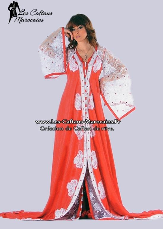 Takchita-marocaine-2015-blanc-et-rouge-haute couture pour une soirée oriental magic TAK-S926