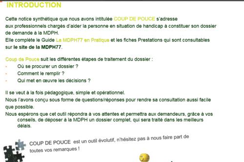 Coup de pouce pour monter son dossier MDPH (données fournies par la mdph 77)
