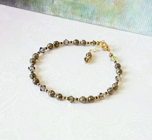 Bracelet pierre de Pyrite 4mm et cristal de Swarovski / Laiton doré