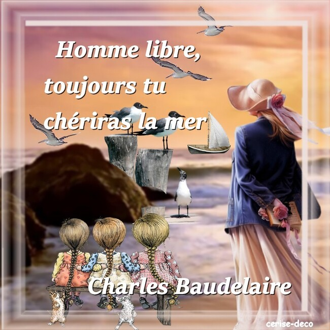 citation illustrée de charles baudelaire : la mer