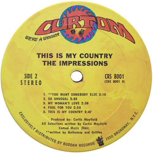 "1968 : Album "" This Is My Country "" Curtom Records CRS 8001 [ US ]"