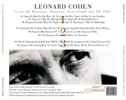 Live: Leonard Cohen - Casino de Montreux - 9 juillet 1985 (3 cd)