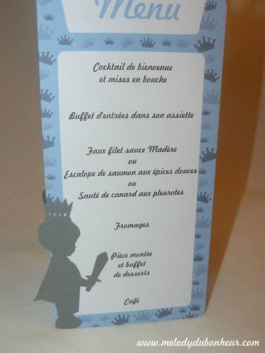 Menu baptême prince couronne garçon bleu gris