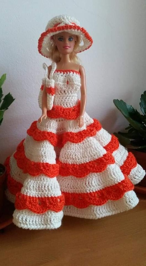 Robe barbie orange et blanc