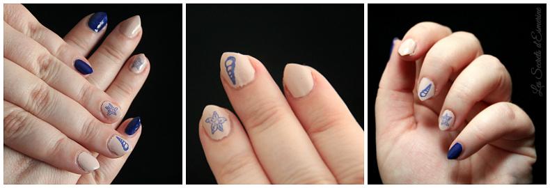 Nail art Marin - motif coquillage