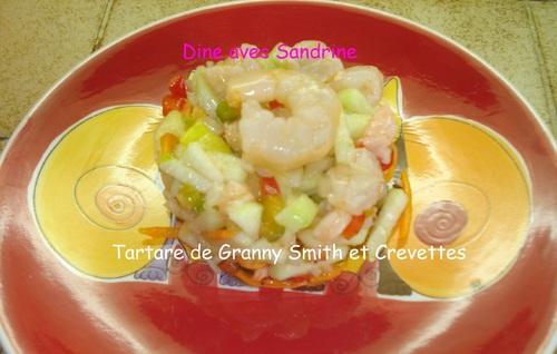 Un Tartare de Pomme verte et Crevettes