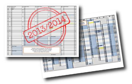 Planning de l'année 2013/2014 (zone B) : le retour