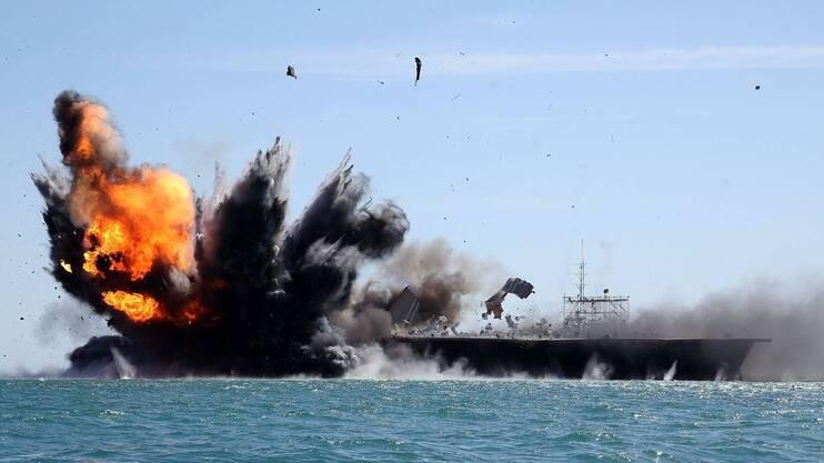 Un exercice militaire iranien le 25 février 2015 dans le détroit d'Ormuz.