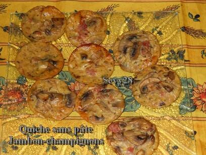 Quiche sans pâte jambon champignon (thermomix)