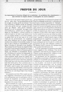 Propos du jour - Le problème des Guérisseurs (Le Concours médical, 1932)