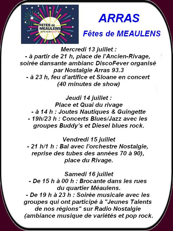 Fête de Méaulens, joutes et le 14 juillet à ARRAS et ses environs.