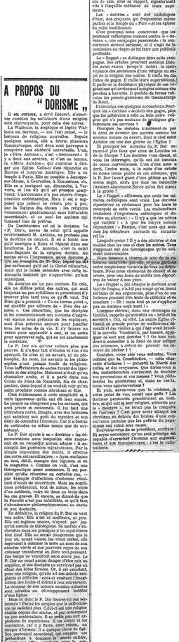 A propos du dorisme (Gazette de Charleroi, 17 juillet 1914)(Belgicapress)