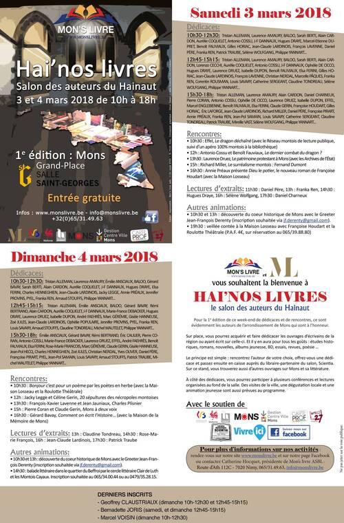 Programme de HAI'NOS LIVRES, ces 3 & 4 mars, à Mons (BE)