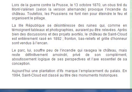 """"""""""" LE PARC de ST CLOUD & les Images du CHÂTEAU détruit en 1870."""""""""""