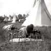 Preparing hide in Crow camp. Early 1900s. Photo by Richard T.jpg