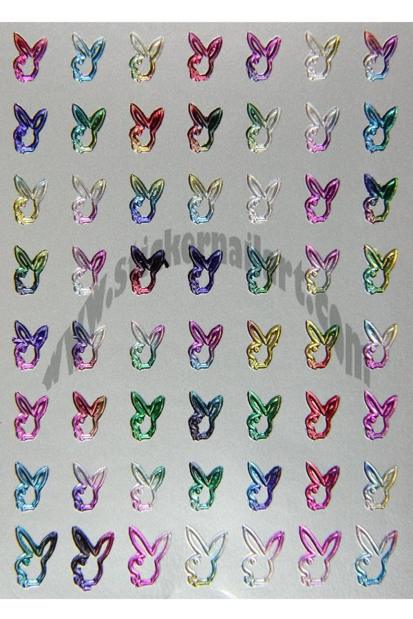stickers d ongles playboy argent multicolore métallique