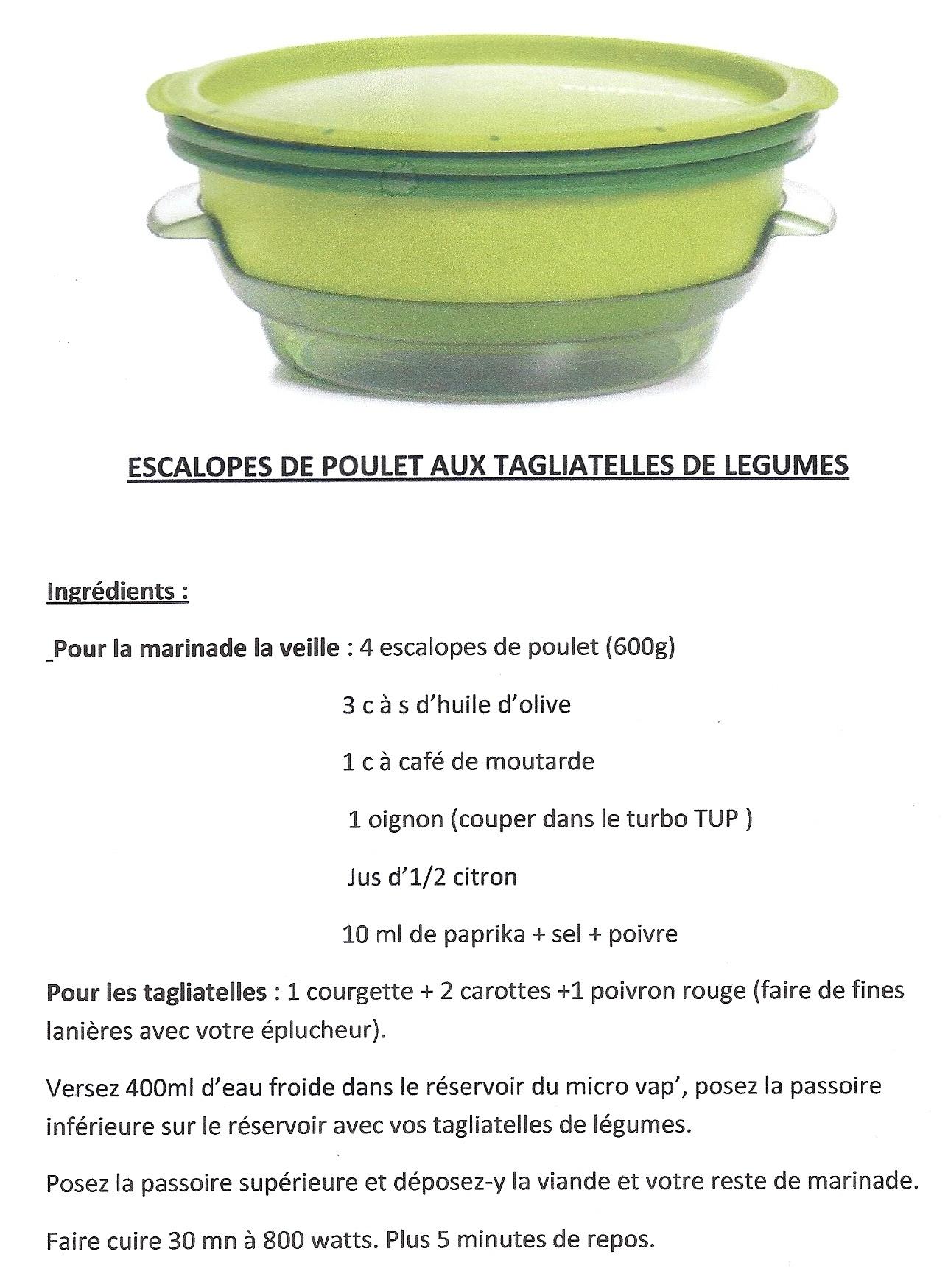 Bien-aimé Escaloppes de poulet / Tagliatelles de légumes au Micro Vap  RQ13