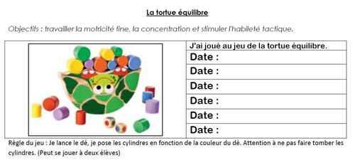 La tortue équilibre (fiche de suivi)