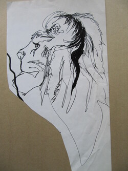 lion au traits feutrés