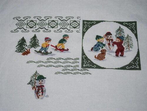 Broderie : Jeux dans la neige...