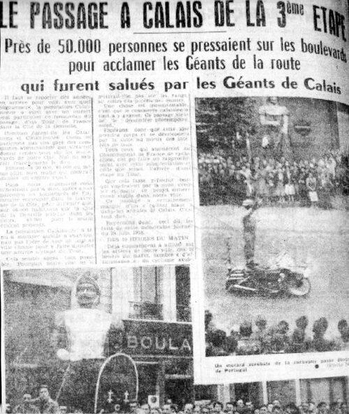Calais, lieu de passage du Tour 1958