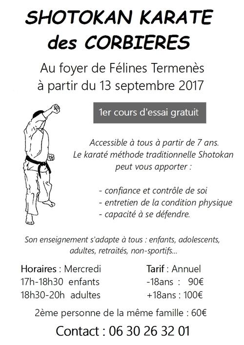 Karaté Reprise le 13 sept. à Félines