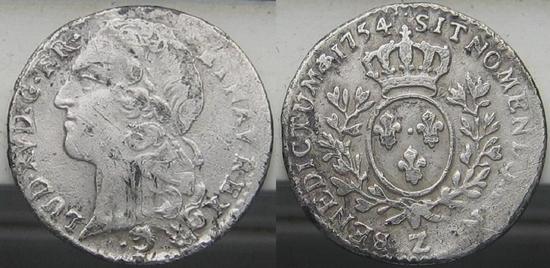 Dixième d'écu au bandeau 1754  Louis XV.