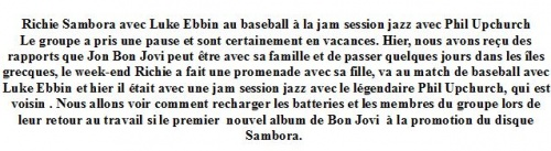 Richie Sambora fait une pause au baseball