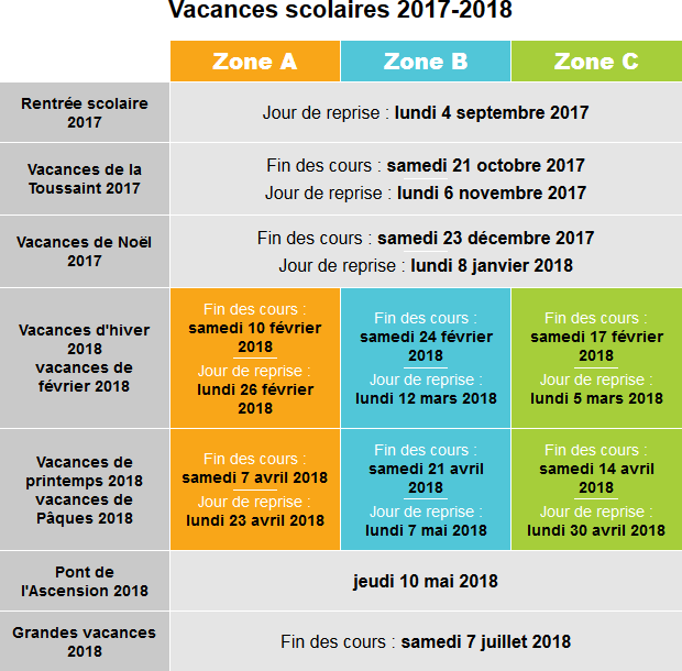 calendrier scolaire mars 2018