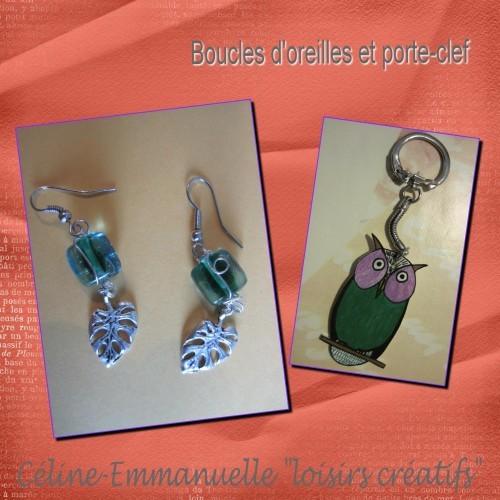 boucles d'oreilles et porte-clef