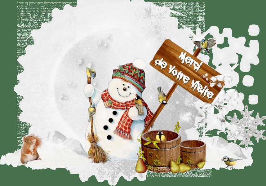 Merci de votre visite, bonhomme de neige