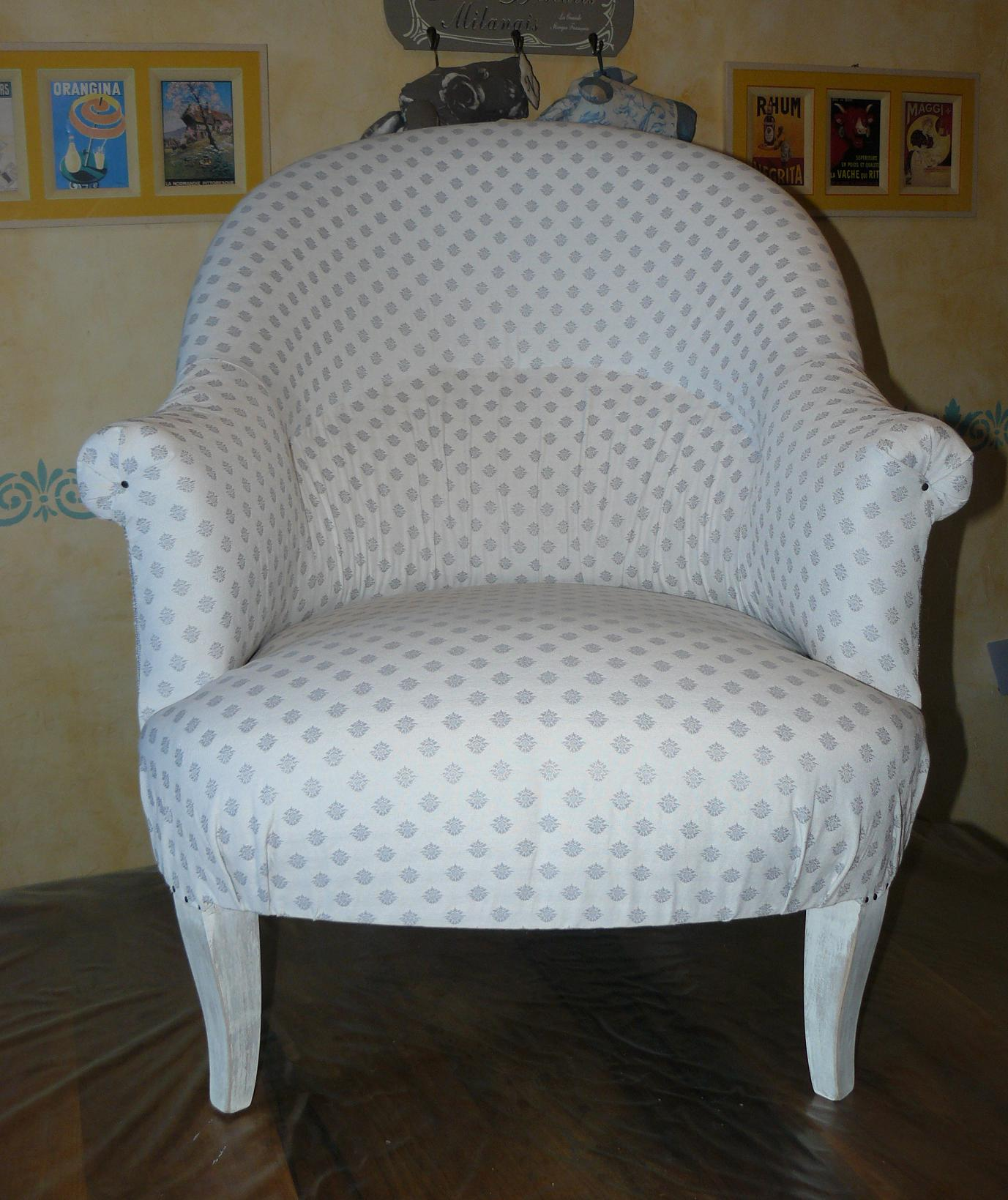 Fauteuil Crapaud Blanc Flo Et Ma Créations - Fauteuil crapaud blanc