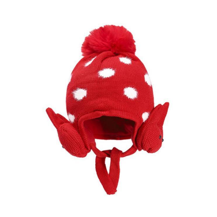 kiskissing wholesale toddler polka dots ribbit ear knit hat