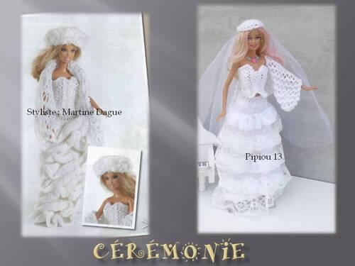 Barbie en robe blanche tricotée