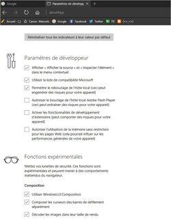 Edge Afficher les paramètres de développeur